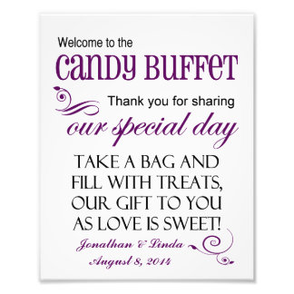 Welcome to the Candy Buffet Violet Wedding Sign Photo Print