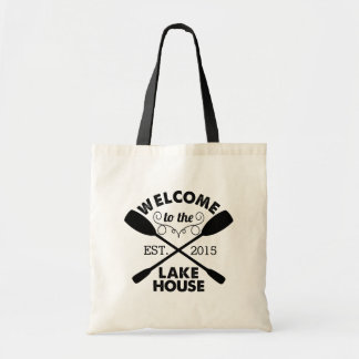 Welcome to the Lake House | Rustic Canoe Paddles Budget Tote Bag