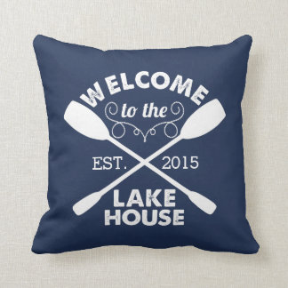 Welcome to the Lake House | Rustic Navy Cushion