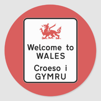 Welcome to Wales Sign, UK Round Sticker