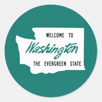 Welcome to Washington - USA Round Stickers