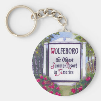Welcome to Wolfeboro NH Sign Basic Round Button Key Ring
