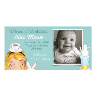 Welcome to Wonderland Birth Announcement Blue Photo Card Template
