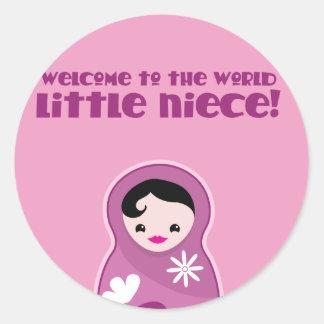 Welcome to world little niece babushka Doll cute Sticker
