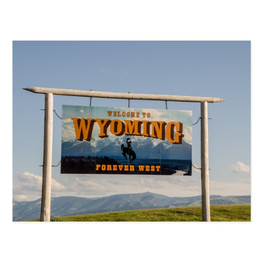 Welcome to Wyoming Sign - State Borders Postcard