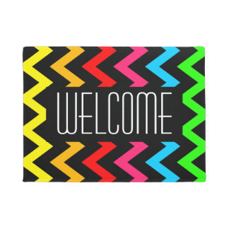 Welcome Trendy Bright Colorful Chevron Zigzag Doormat