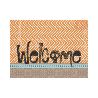Welcome Tribal Orange Chevron Tan Doormat