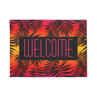 Welcome Tropical Palm Leaf On Summer Sunset Doormat