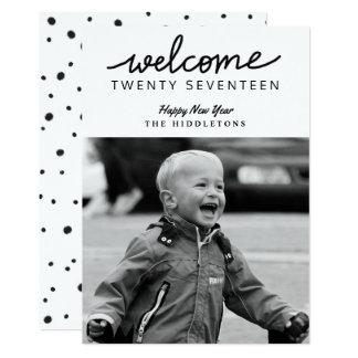 Welcome Twenty Seventeen Script New Year Photo Card