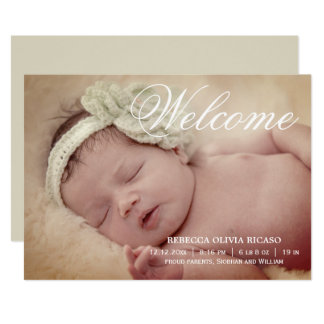 Welcome Typography Scroll New Baby Personalised Card