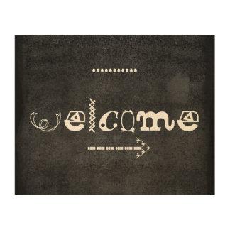 welcome typography wall art on wood panel