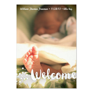 Welcome Unisex Photo Baby Announcement