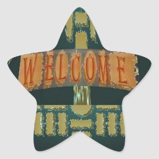 Welcome :  Vintage EmeralGold Stones Star Sticker