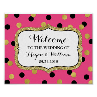 Welcome Wedding Pink Black Gold Confetti Poster