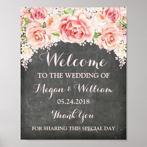 Welcome Wedding Pink Watercolor Flower Chalkboard Poster