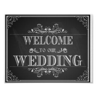 Welcome wedding sign in chalkboard
