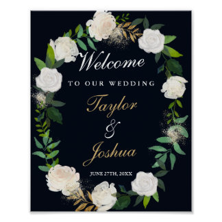 Welcome Wedding Sign Navy Floral Wreath Poster