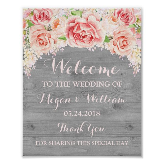 Welcome Wedding Sign Pink Watercolor Flower Wood Poster