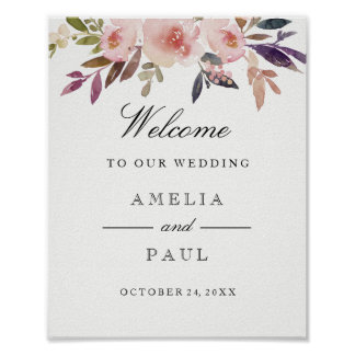 Welcome Wedding Sign Pink Watercolor Peonies