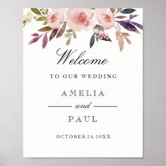Welcome Wedding Sign Pink Watercolor Peonies