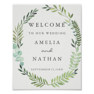 Welcome Wedding Sign Watercolor Green Leaf Wreath