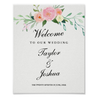 Welcome Wedding Sign Watercolor Wildflower