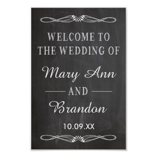 Welcome Wedding Vertical Chalkboard Sign Zazzle Com Au