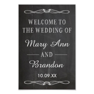 Welcome Wedding vertical chalkboard sign Poster