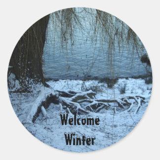 Welcome Winter Round Stickers