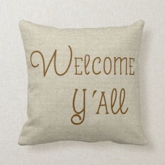 Welcome Y'All burlap-look custom name Throw Pillow