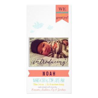 Welcomes with great joy!* Birth Announcement Personalized Photo Card
