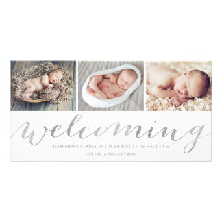 Welcoming Silver Script | Birth Announcement Customised Photo Card