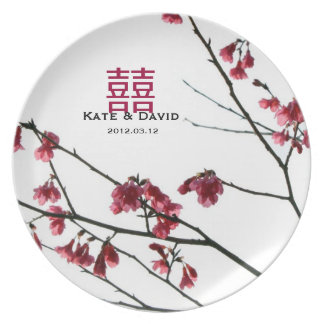 Welcoming Spring Red Sakura Wedding Gift Plate