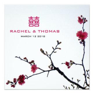 Welcoming Spring Sakura Double Happiness Wedding Invitation
