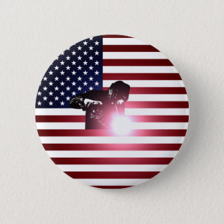 Welder and American Flag 6 Cm Round Badge