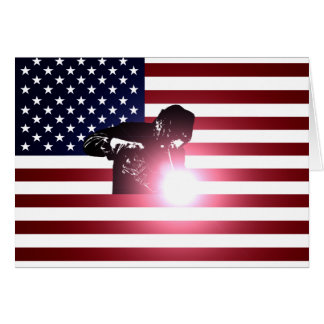 Welder and American Flag Card