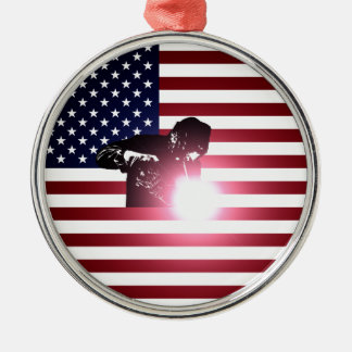 Welder and American Flag Metal Ornament