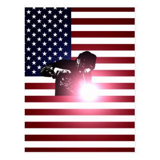 Welder and American Flag Postcard
