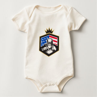 Welder Arc Welding USA Flag Crest Retro Baby Bodysuit