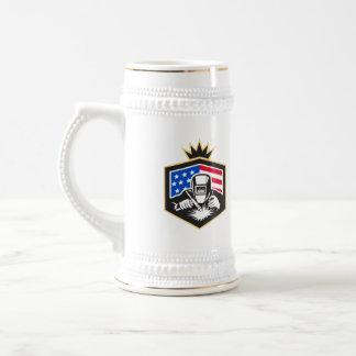 Welder Arc Welding USA Flag Crest Retro Beer Stein