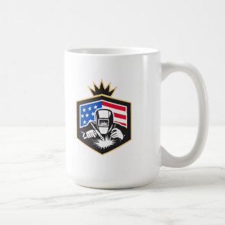 Welder Arc Welding USA Flag Crest Retro Coffee Mug
