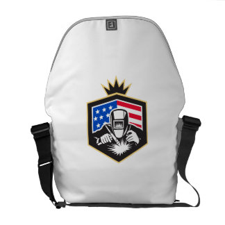 Welder Arc Welding USA Flag Crest Retro Courier Bags