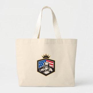 Welder Arc Welding USA Flag Crest Retro Large Tote Bag