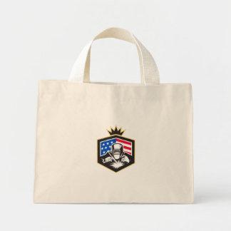 Welder Arc Welding USA Flag Crest Retro Mini Tote Bag