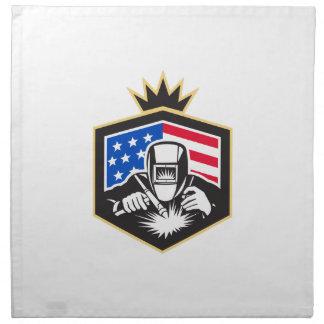 Welder Arc Welding USA Flag Crest Retro Napkin