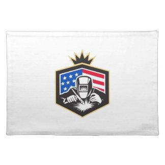 Welder Arc Welding USA Flag Crest Retro Placemat