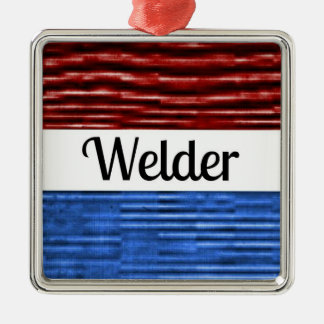 Welder Patriotic Christmas Ornament