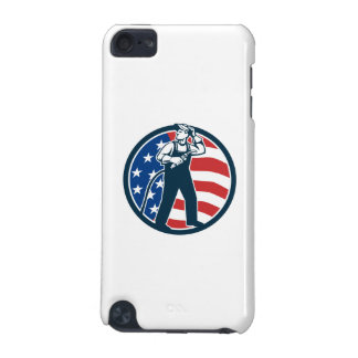 Welder Standing Visor Up USA Flag Circle Retro iPod Touch (5th Generation) Covers