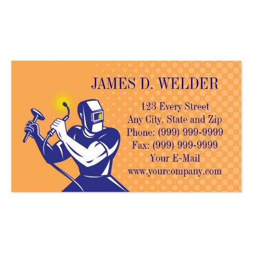 welder welding at work business card