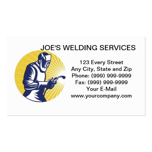 welder welding  worker business card